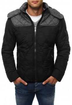 Демисезонная куртка черная с серой вставкой