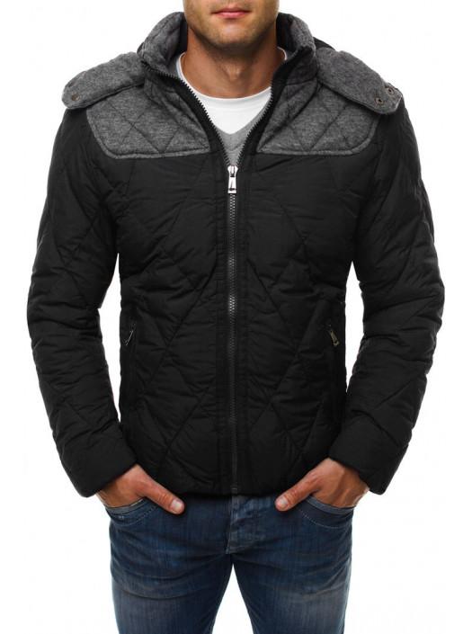 Демисезонная куртка черная с серой вставкой FC1_4574 купить недорого