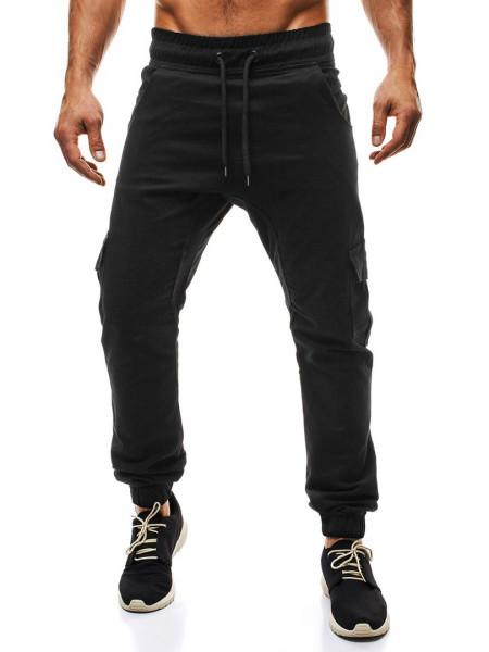 Брюки на резинке с карманами черные