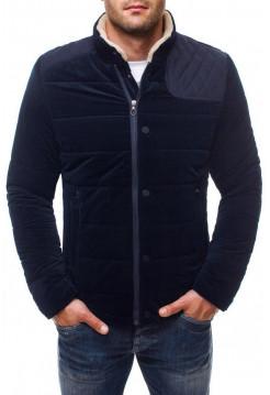 Демисезонная куртка синяя с вставкой