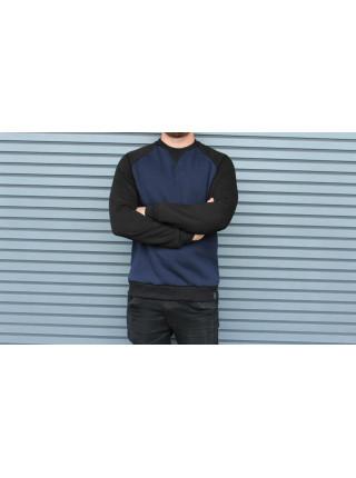 Свитшот HGLN утепленный синий с черными рукавами