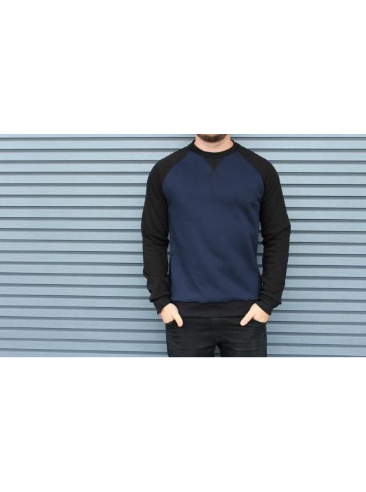 Свитшот HGLN утепленный синий с черными рукавами HL1921