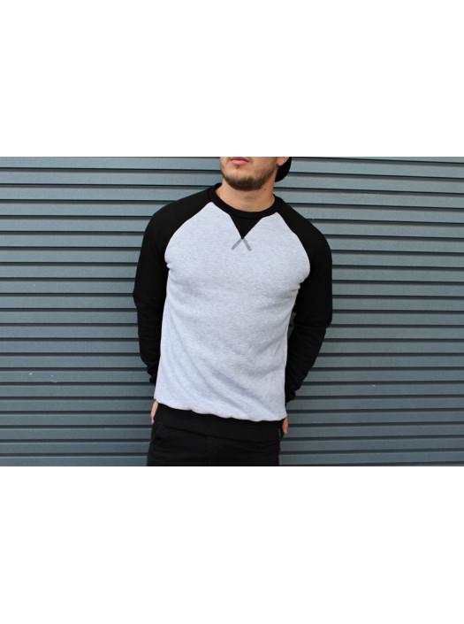 Свитшот HGLN утепленный серый с черными рукавами HL1922 купить недорого