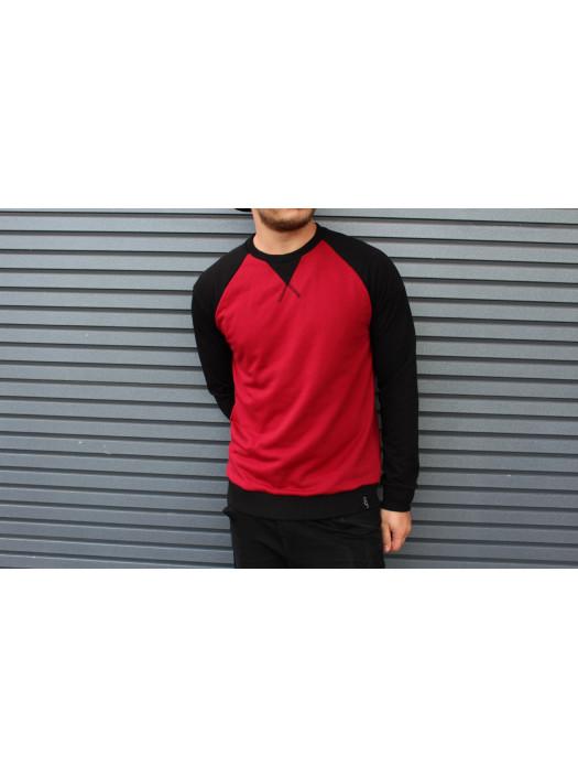 Свитшот HGLN красный с черными рукавами HL1919